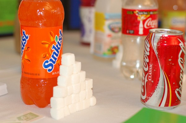 Sugar cubes representing the amount of added sugar in the drink