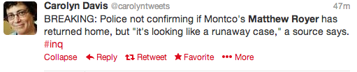 Philadelphia Inquirer reporter Carolyn Davis tweeted this new development at approximately 1:45 p.m. on Wednesday.