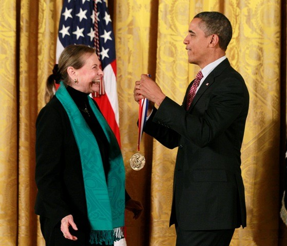 U.S. President Barack Obama presents the National Medal of Science award to Dr. Lucy Shapiro of the Stanford University School of Medicine, California