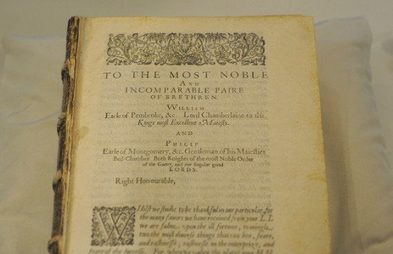 A section of the first remaining page of the rare Shakespeare First Folio.