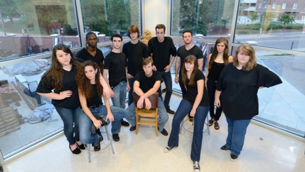 Laramie Project participents standing in the back from left to right: Rachel Staton, Kaleb Mitchell, Adam Brooks, Nathan Burke, Garrison Gibbons, Nathan Ford, Darby Burghard, Taylor Dunn.