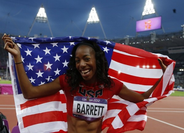 Phil Noble Brigetta Barrett of the U.S. holds her national flag after coming in second in the women's high jump final at the London 2012 Olympic Games
