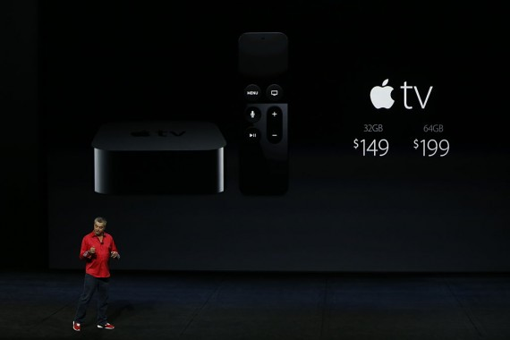 Eddy Cue announce pricing for the new Apple TV during a special event at Bill Graham Civic Auditorium.