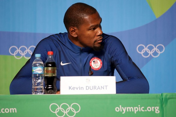 Kevin durant of the united states speaks with the media during a press