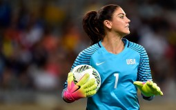 Hope Solo of United States looks on during the Women's Group G first round match.