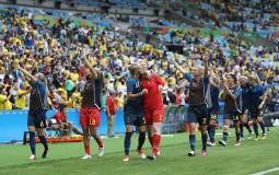 Sweden celebrate victory in the Women's Football Semi Final.