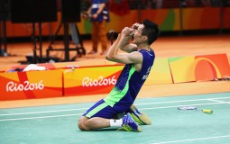 Chong Wei Lee of Malaysia celebrates after defeating Dan Lin of China during the Men's Singles Badminton Semi-final against on Day 14 of the Rio 2016 Olympic Games at Riocentro - Pavilion 4 on August 19, 2016 in Rio de Janeiro, Brazil.
