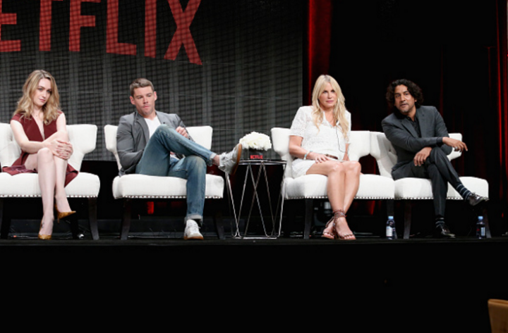 (L-R) Actors Jamie Clayton, Brian J. Smith, Daryl Hannah and Naveen Andrews speak onstage during the 'Sense8' panel discussion at the Netflix portion of the 2015 Summer TCA Tour.