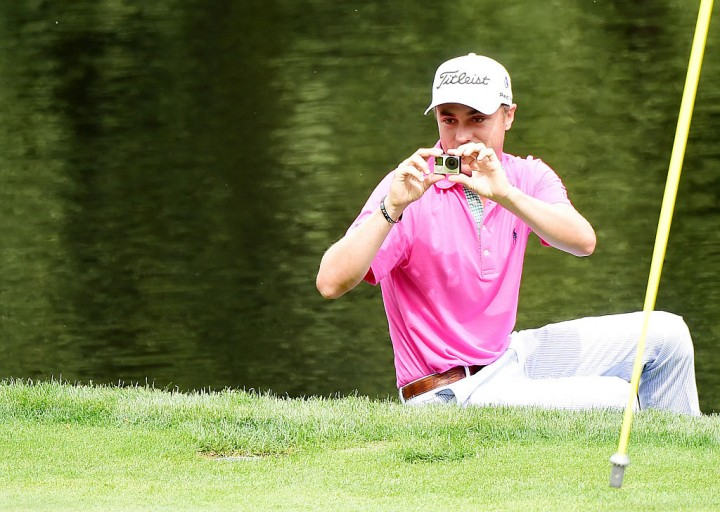 Justin Thomas of the United States uses a gopro during the Par 3 Contest prior to the start of the 2016 Masters Tournament at Augusta National Golf Club