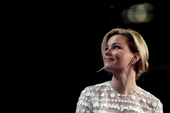 Actress Elizabeth Banks arrives on stage during the second day of the Democratic National Convention