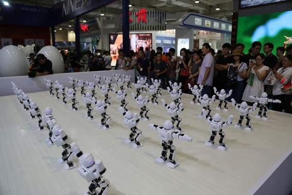 'Alpha' Robots Dance In The Sixth Shandong Cultural Industries Fair