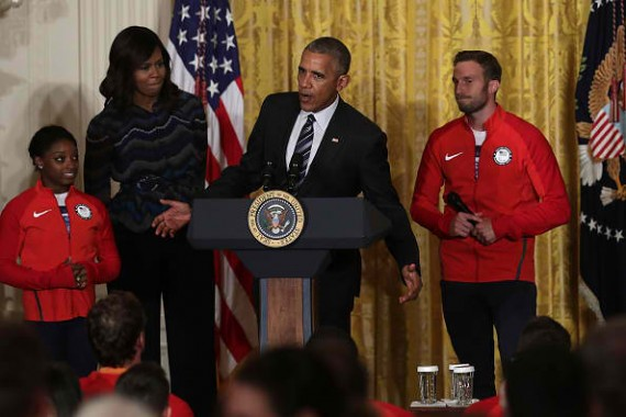 Simone Biles with President And Mrs. Obama