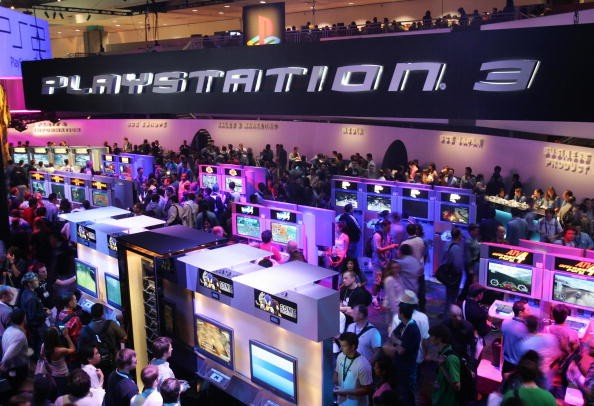 Vistiors test new games at the Playstation