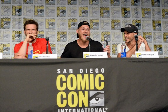 (L-R) Actors Clive Standen, Alexander Ludwig and Gustaf Skarsgard attend the 'Vikings' panel during Comic-Con International 2016.