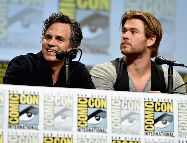 Actors Mark Ruffalo and Chris Hemsworth onstage at Marvel's Hall H Panel for 'Avengers: Age Of Ultron' during Comic-Con International