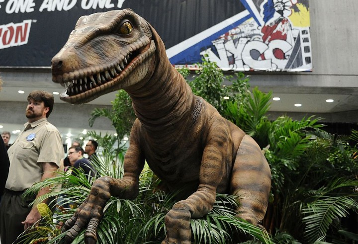 Fans attend the Jurrasic World exhibition at New York Comic-Con 2015 at The Jacob K. Javits Convention Center
