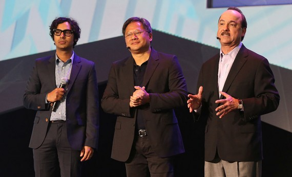 Actor Kunal Nayyar, president and CEO of Nvidia Jen-Hsun Huang and president and CEO of AT&T Mobility Ralph de la Vega