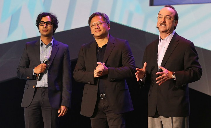 Actor Kunal Nayyar, president and CEO of Nvidia Jen-Hsun Huang and president and CEO of AT&T Mobility Ralph de la Vega