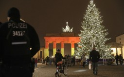 Giant Christmas Tree in the Christmas market in Berlin