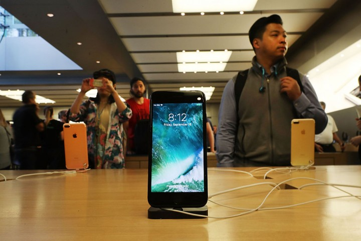 The new iPhone 7 is displayed on a table at an Apple store in Manhattan