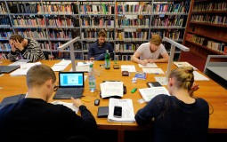 College students in the library