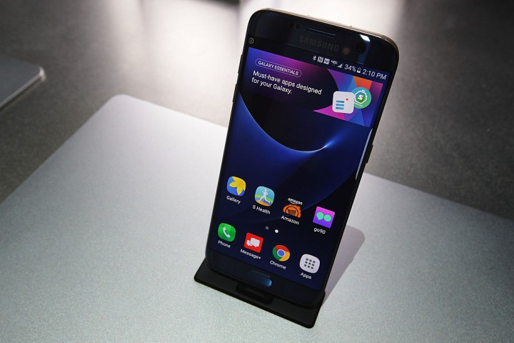 Samsung Galaxy S7 edge smartphone is on display at the Samsung booth during CES 2017 at the Las Vegas Convention Center