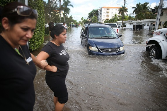 Flooded Street in Miami Beach, Florida