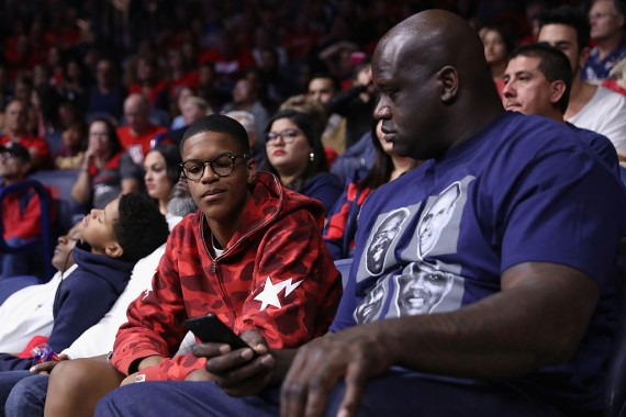 Shaquille O'Neal with his son Shareef O'Neal